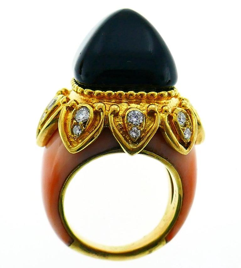 Boucheron Coral Gold Bangle Bracelet Ring Earrings Set, 1970s For Sale 6