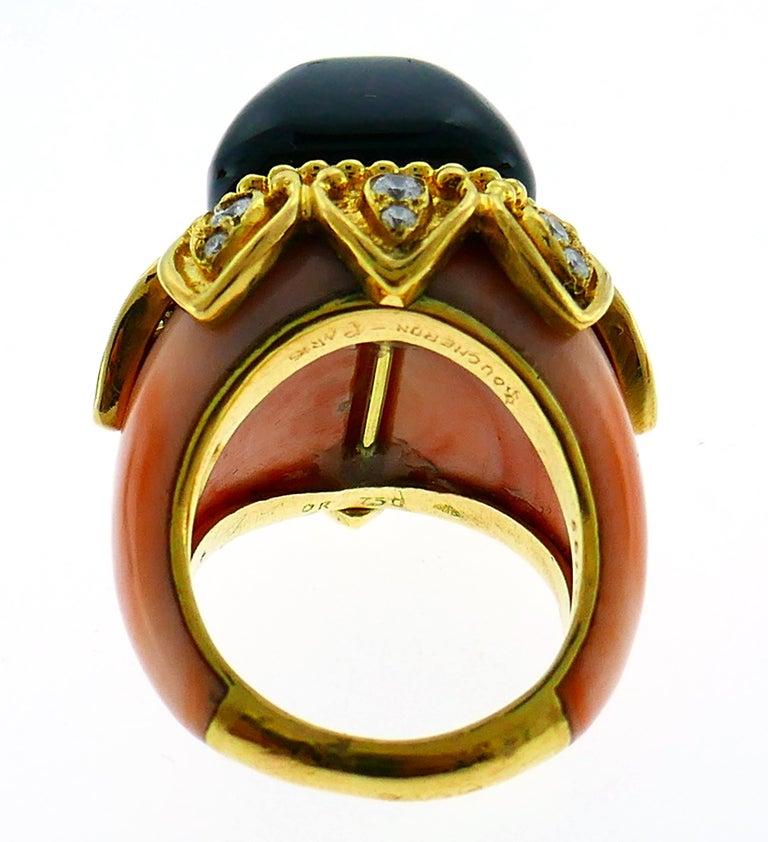 Boucheron Coral Gold Bangle Bracelet Ring Earrings Set, 1970s For Sale 7