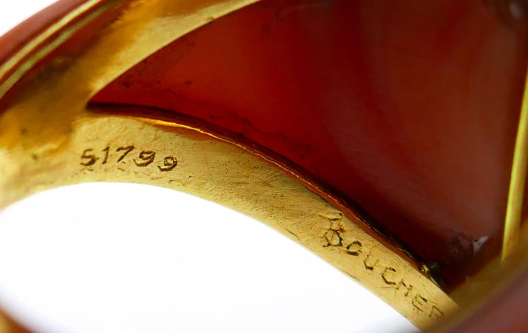 Boucheron Coral Gold Bangle Bracelet Ring Earrings Set, 1970s For Sale 8