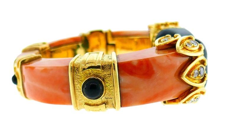 Boucheron Coral Gold Bangle Bracelet Ring Earrings Set, 1970s For Sale 1