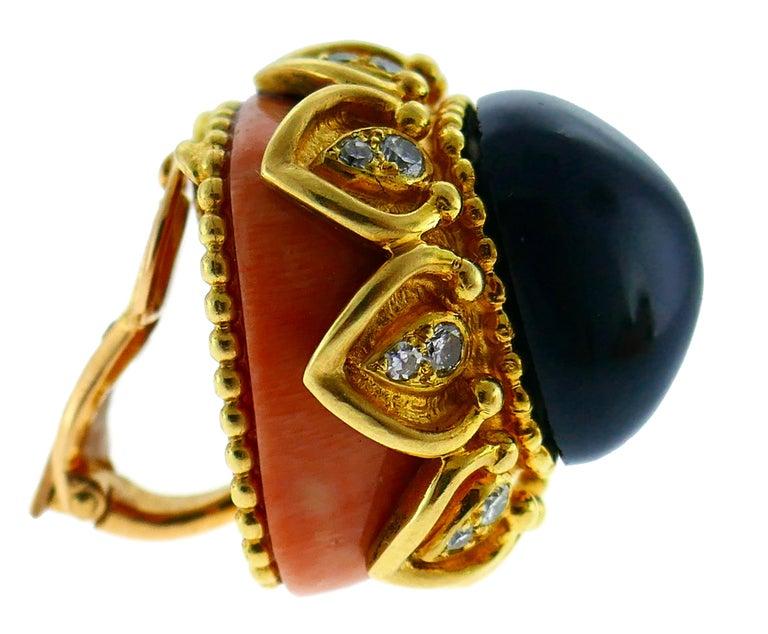 Boucheron Coral Gold Bangle Bracelet Ring Earrings Set, 1970s For Sale 2