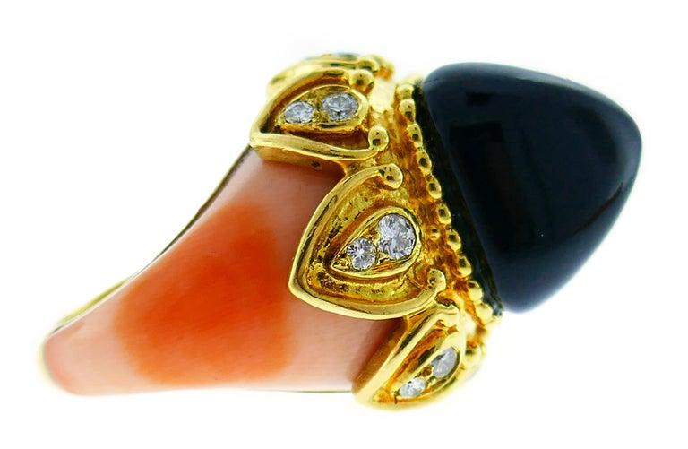 Boucheron Coral Gold Bangle Bracelet Ring Earrings Set, 1970s For Sale 5