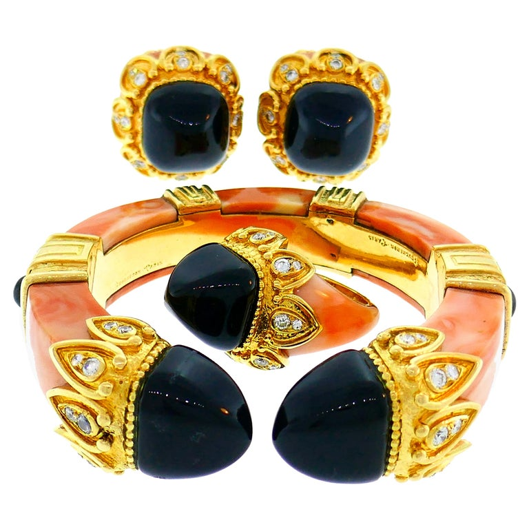 Boucheron Coral Gold Bangle Bracelet Ring Earrings Set, 1970s For Sale
