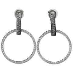 Boucheron Designer Clip on Diamond Hoop Earrings in 18 ct Gold with Certificate