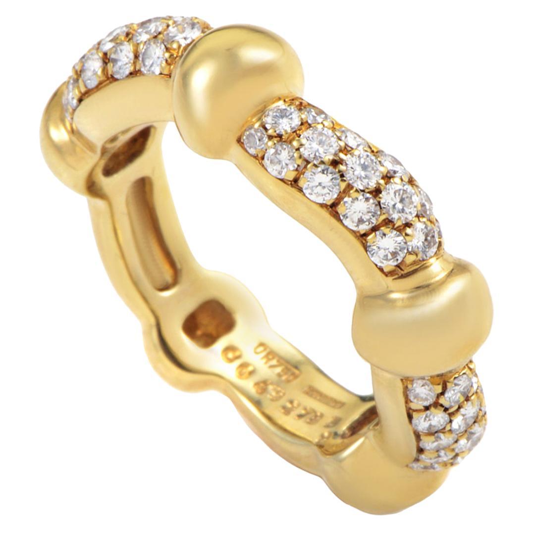 Boucheron Diamond 18 Karat Yellow Gold Band Ring