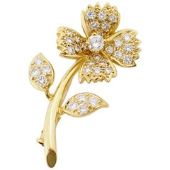 Boucheron Diamond 18 Karat Yellow Gold Flower Brooch