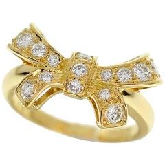 Boucheron Diamond 18 Karat Yellow Gold Ribbon Bow Ring US 4