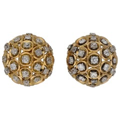 Boucheron Diamond and Gold Clip Earrings, French, circa 1950