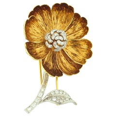 Boucheron Diamond and Gold Flower Brooch