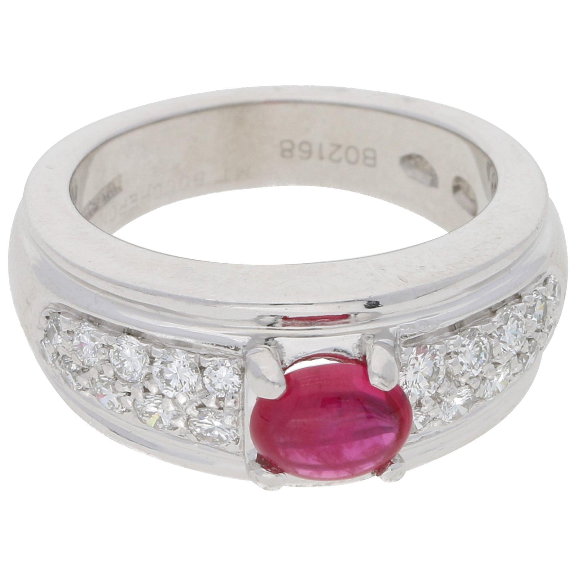 Boucheron Ruby and Diamond Platinum Ring