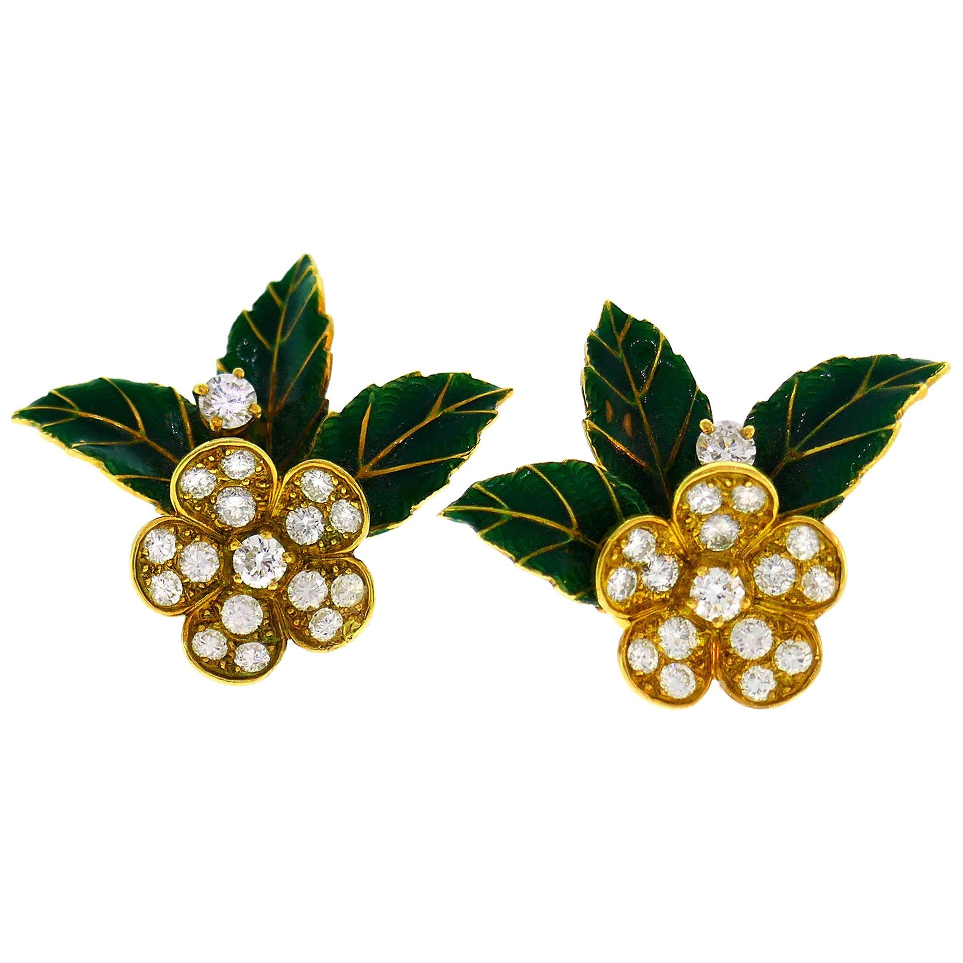 Boucheron Diamond Enamel Gold Earrings, 1950s, France