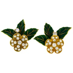 Boucheron Diamond Enamel Gold Earrings, 1950s, France