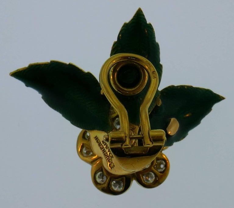 Women's Boucheron Diamond Enamel Gold Earrings Clip Set Brooch Pin, 1950s France