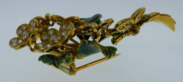Boucheron Diamond Enamel Gold Earrings Clip Set Brooch Pin, 1950s France 1