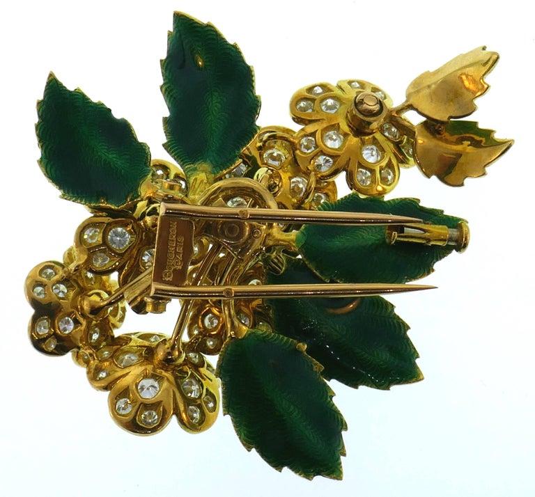 Boucheron Diamond Enamel Gold Earrings Clip Set Brooch Pin, 1950s France 2