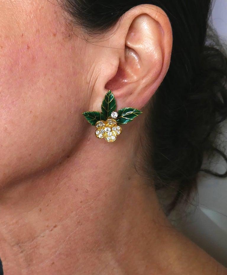 Boucheron Diamond Enamel Gold Earrings Clip Set Brooch Pin, 1950s France 3