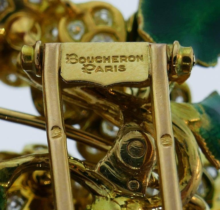 Boucheron Diamond Enamel Gold Earrings Clip Set Brooch Pin, 1950s France 4