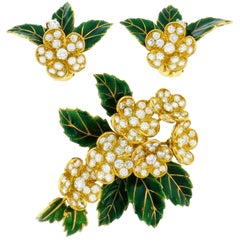 Boucheron Diamond Enamel Gold Earrings Clip Set Brooch Pin, 1950s France
