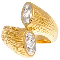 Boucheron Diamond Gold Bypass Ring