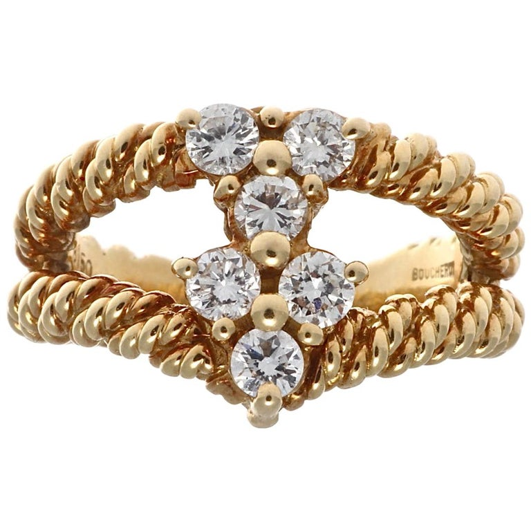 Boucheron Diamond Gold Ring For Sale