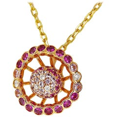 Boucheron Diamond Pink Sapphire 18Kt Yellow Pink Gold Ma Jolie Pendant Necklace