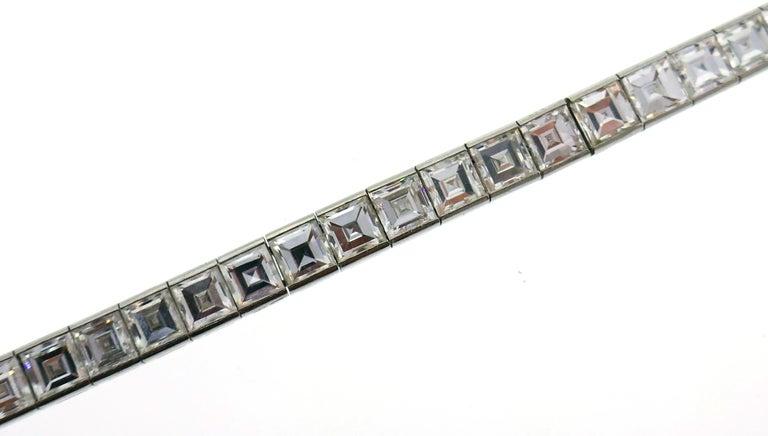 Women's or Men's Boucheron Diamond Platinum Tennis Line Bracelet, 1950s For Sale