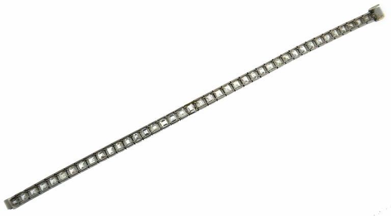 Boucheron Diamond Platinum Tennis Line Bracelet, 1950s For Sale 2