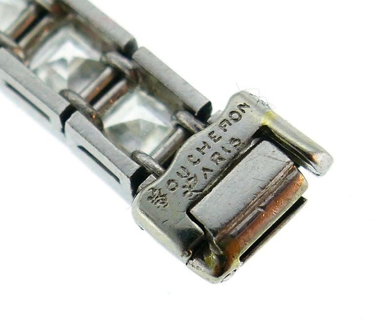 Boucheron Diamond Platinum Tennis Line Bracelet, 1950s For Sale 3