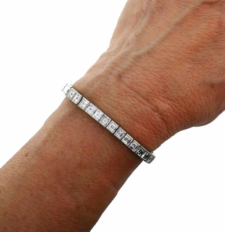 Boucheron Diamond Platinum Tennis Line Bracelet, 1950s For Sale 5