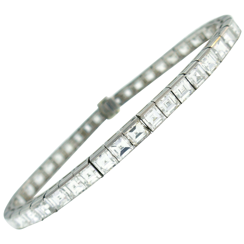 Boucheron Diamond Platinum Tennis Line Bracelet, 1950s