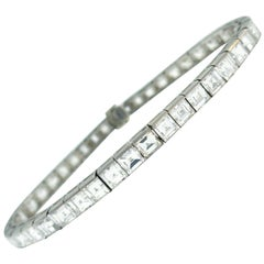 Boucheron Diamond Platinum Tennis Line Bracelet, 1950s