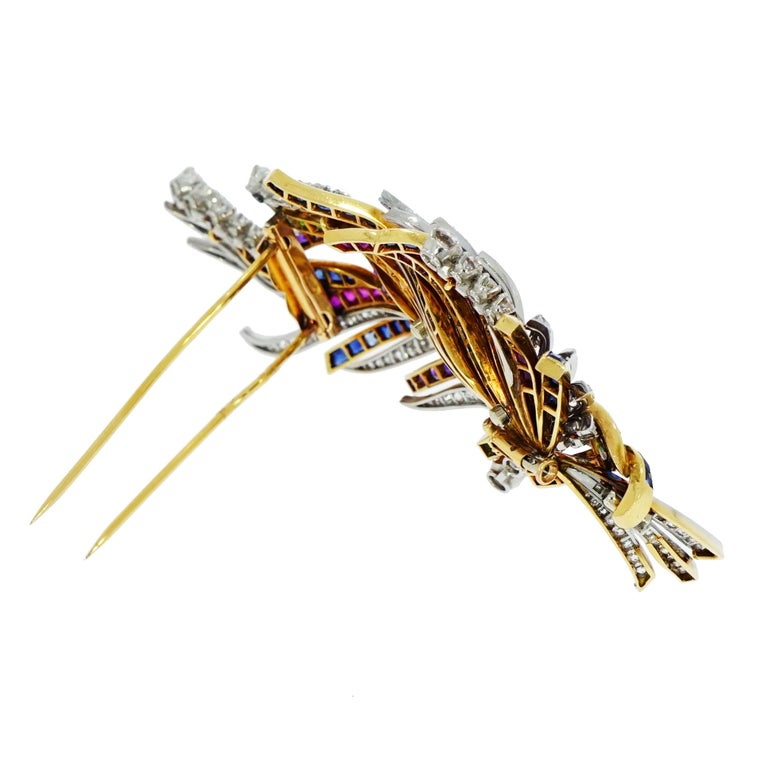 Boucheron Diamond Ruby Sapphire and Emerald Yellow and White Gold Brooch In Good Condition For Sale In Greenwich, CT