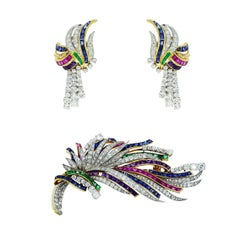 Boucheron Diamond Ruby Sapphire and Emerald Brooch & Earrings Set