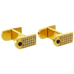 Boucheron Diamond Sapphire Yellow Gold Cufflinks, 1980s