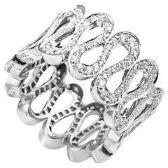Boucheron Diamond White Gold Wavy Band Ring