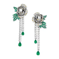 Boucheron Emerald Diamond Drop Earrings in 18k Gold, 'As New' with Box