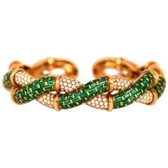 Boucheron Emerald Diamond Gold Bangle Bracelet with Box