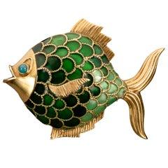 Boucheron Enamel and 18 Karat Gold Fish Brooch