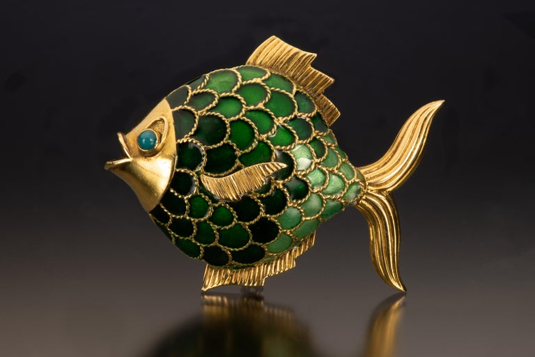 Boucheron Enamel and 18k Gold Fish Brooch For Sale 2