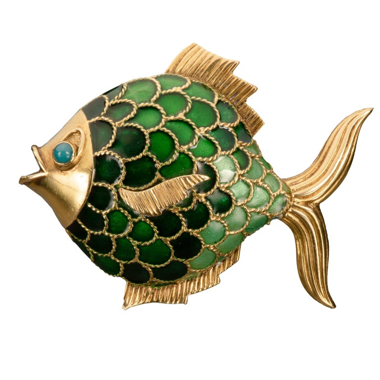 Boucheron Enamel and 18k Gold Fish Brooch For Sale