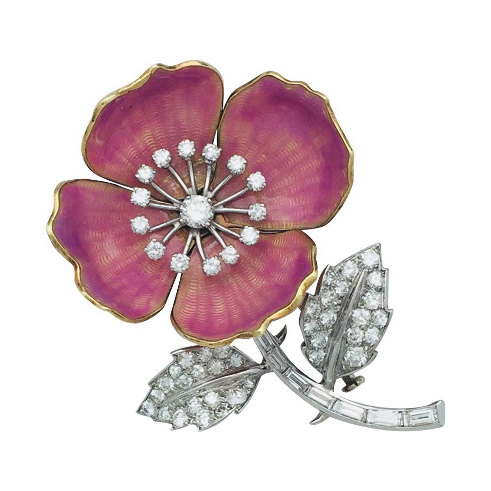 "Boucheron Enamel Diamond Gold Platinum ""Eglantine"" Flower Brooch"