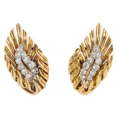 Boucheron, France 1950s Gold and Diamond Stylized Flame Earrings