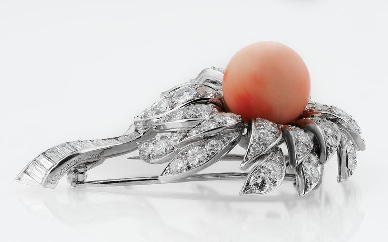 Retro Boucheron French 1980s Vintage Floral or Flower Diamond, Pink Coral Brooch For Sale