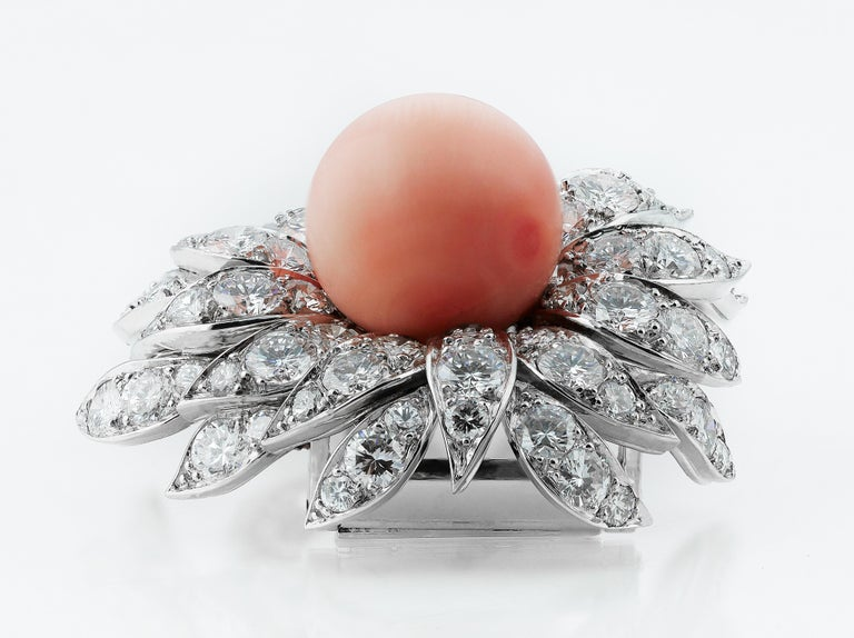Round Cut Boucheron French 1980s Vintage Floral or Flower Diamond, Pink Coral Brooch For Sale