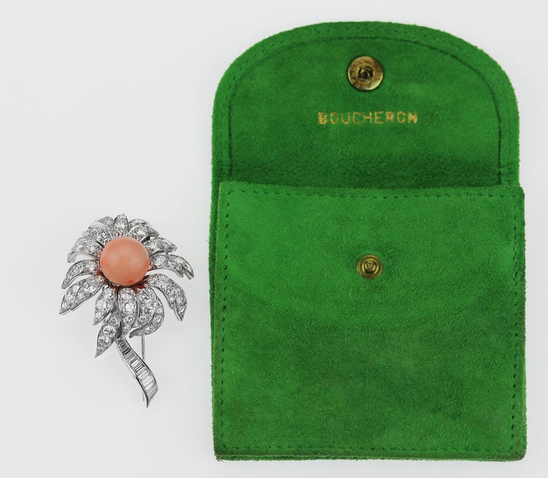 Boucheron French 1980s Vintage Floral or Flower Diamond, Pink Coral Brooch In Excellent Condition For Sale In London, GB