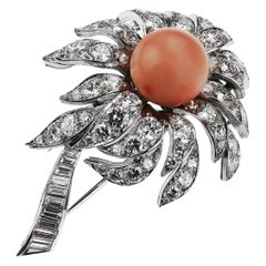 Boucheron French 1980s Vintage Floral/Flower Pink Coral and Diamonds Brooch