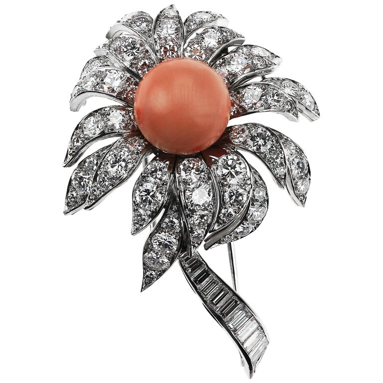 Boucheron French 1980s Vintage Floral or Flower Diamond, Pink Coral Brooch For Sale