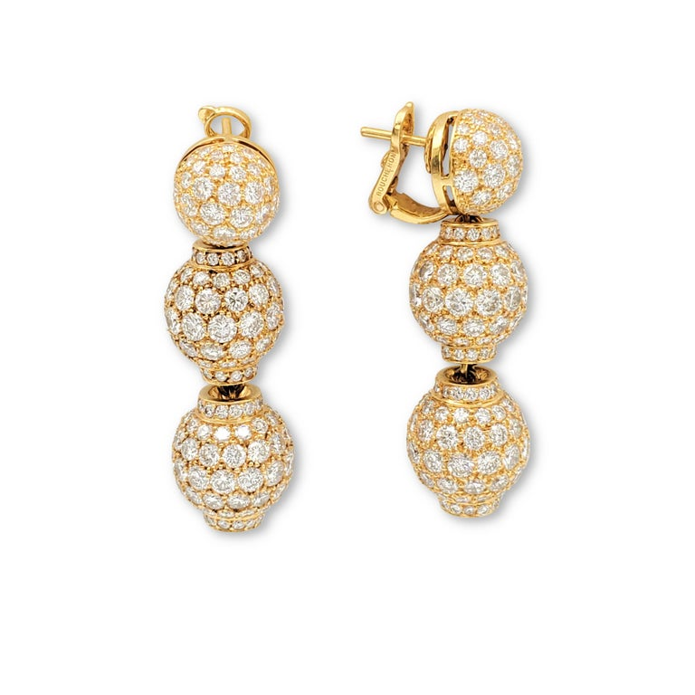 Round Cut Boucheron Gold and Diamond Three-Station Drop Earrings For Sale