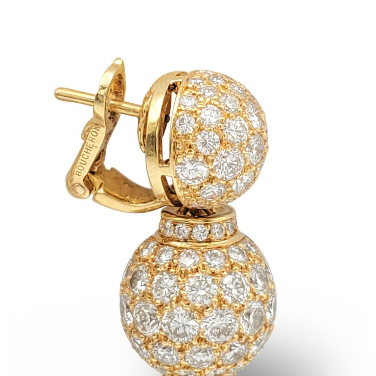 Boucheron Gold and Diamond Three-Station Drop Earrings For Sale 4