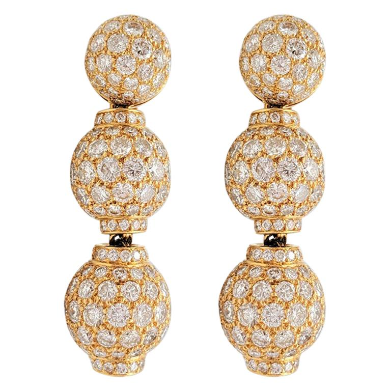 Boucheron Gold and Diamond Three-Station Drop Earrings For Sale